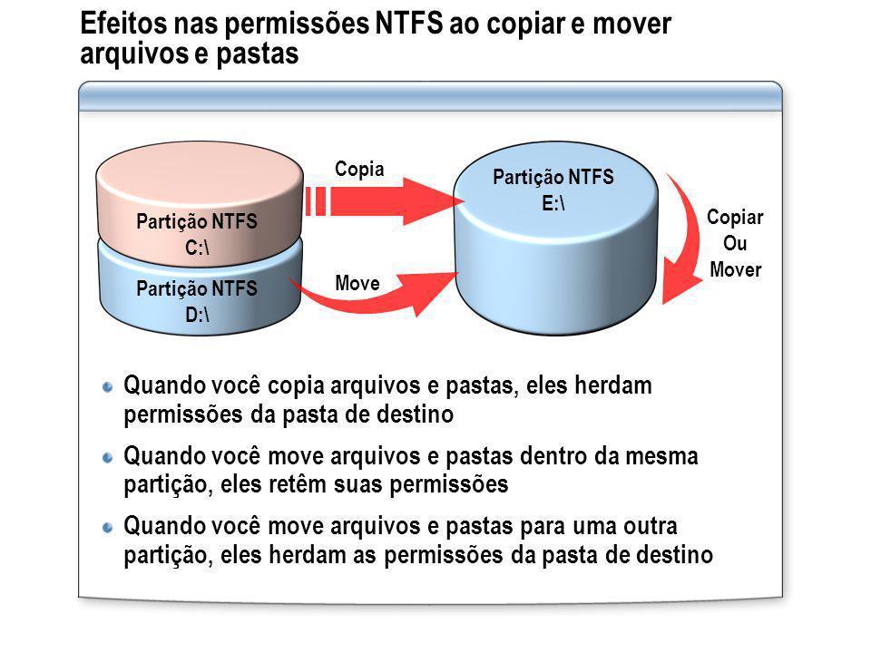 Efeitos nas permissões NTFS ao copiar e mover arquivos e pastas Quando você copia arquivos e pastas, eles herdam permissões da pasta de destino Quando