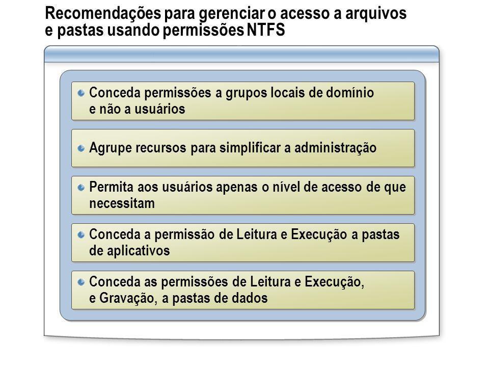 Recomendações para gerenciar o acesso a arquivos e pastas usando permissões NTFS Conceda permissões a grupos locais de domínio e não a usuários Permit
