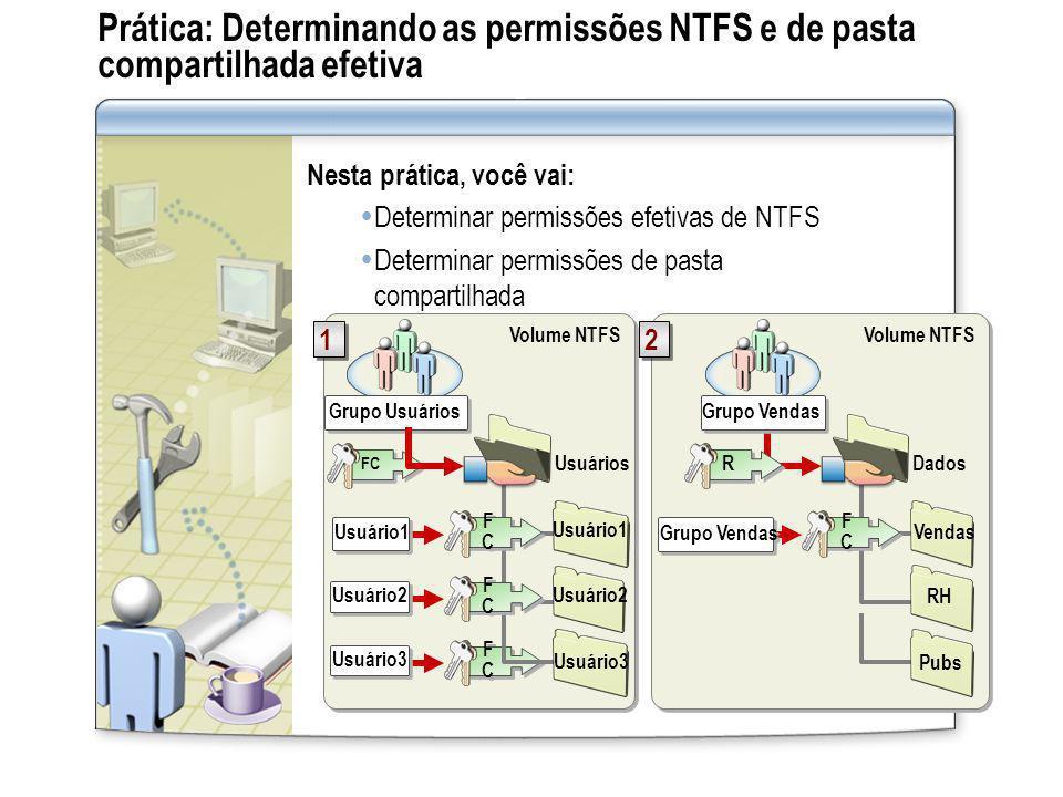 Prática: Determinando as permissões NTFS e de pasta compartilhada efetiva Nesta prática, você vai: Determinar permissões efetivas de NTFS Determinar p