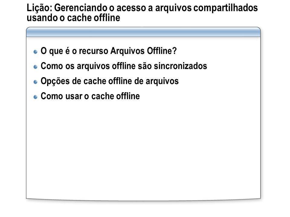 Lição: Gerenciando o acesso a arquivos compartilhados usando o cache offline O que é o recurso Arquivos Offline? Como os arquivos offline são sincroni