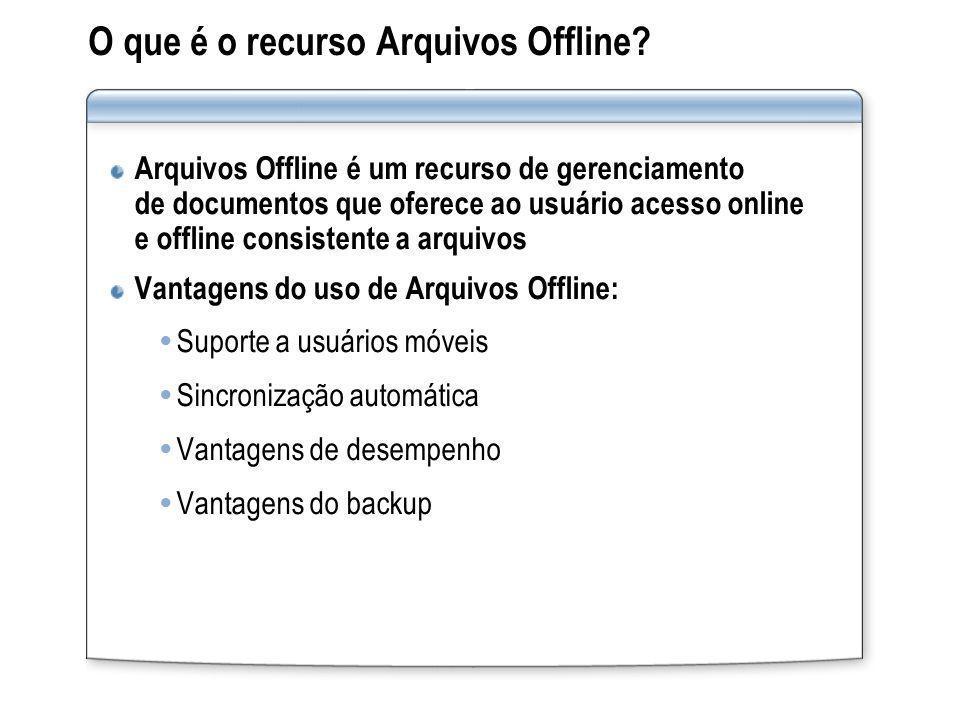 O que é o recurso Arquivos Offline? Arquivos Offline é um recurso de gerenciamento de documentos que oferece ao usuário acesso online e offline consis