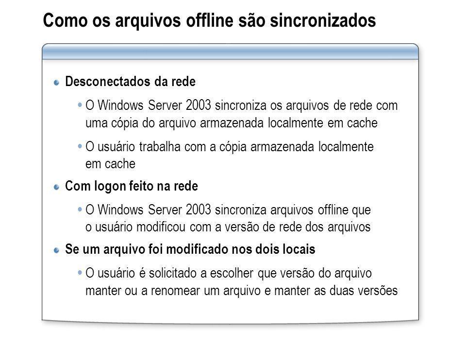 Como os arquivos offline são sincronizados Desconectados da rede O Windows Server 2003 sincroniza os arquivos de rede com uma cópia do arquivo armazen