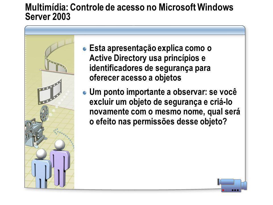 Multimídia: Controle de acesso no Microsoft Windows Server 2003 Esta apresentação explica como o Active Directory usa princípios e identificadores de