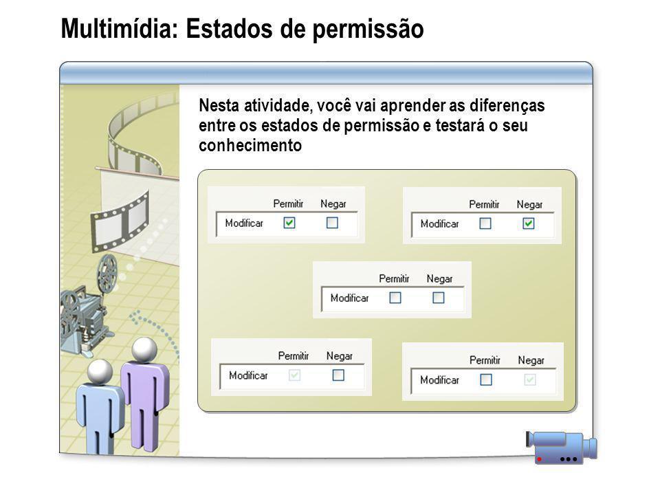 Multimídia: Estados de permissão Nesta atividade, você vai aprender as diferenças entre os estados de permissão e testará o seu conhecimento