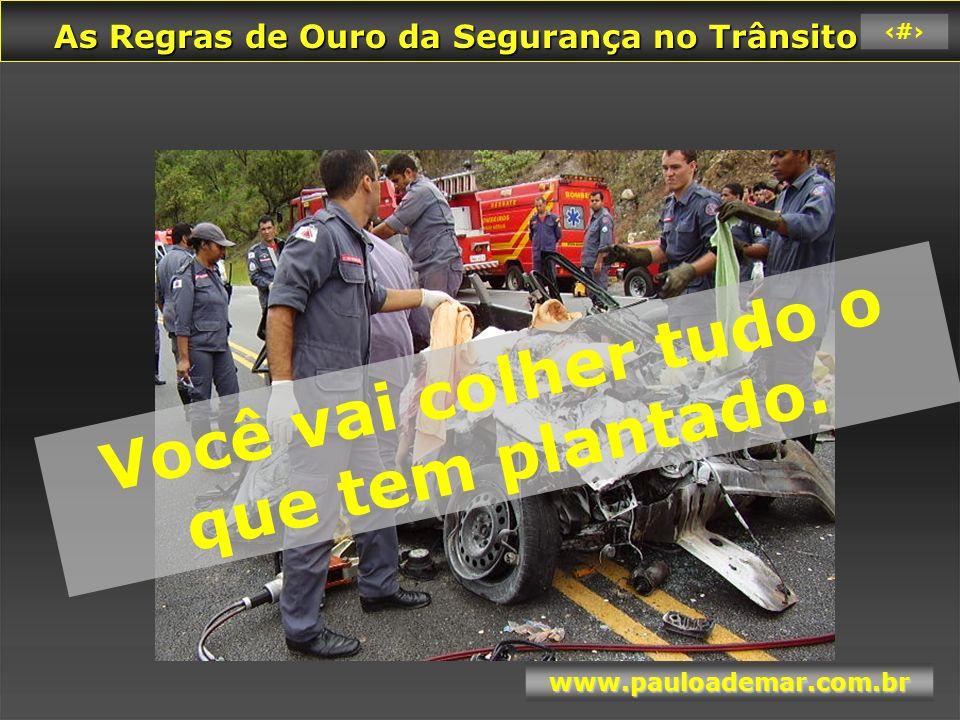 As Regras de Ouro da Segurança no Trânsito As Regras de Ouro da Segurança no Trânsito www.pauloademar.com.br 58 CONSEQÜÊNCIAS IMEDIATAS DOS ACIDENTES