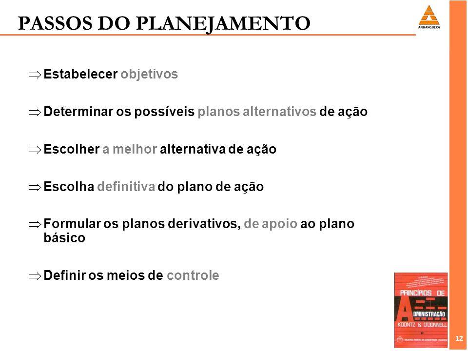 12 Estabelecer objetivos Determinar os possíveis planos alternativos de ação Escolher a melhor alternativa de ação Escolha definitiva do plano de ação
