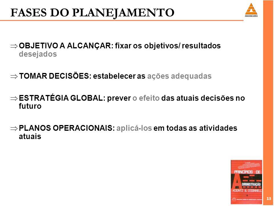 13 OBJETIVO A ALCANÇAR: fixar os objetivos/ resultados desejados TOMAR DECISÕES: estabelecer as ações adequadas ESTRATÉGIA GLOBAL: prever o efeito das