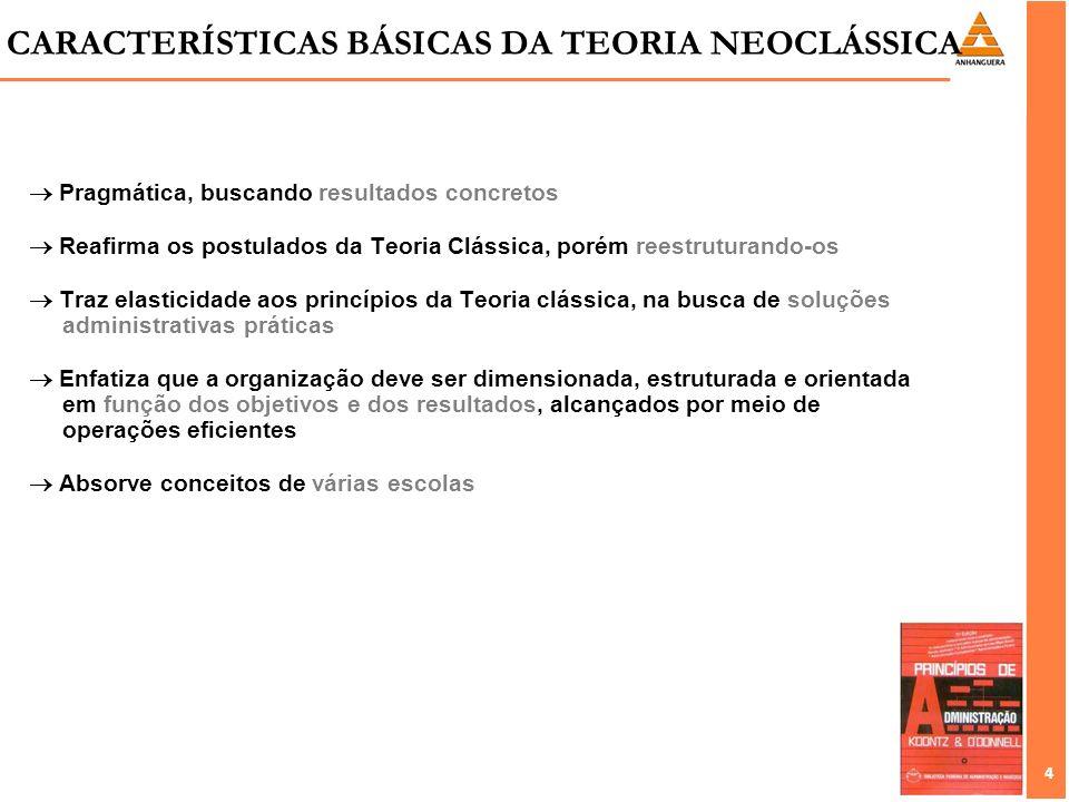 4 4 Pragmática, buscando resultados concretos Reafirma os postulados da Teoria Clássica, porém reestruturando-os Traz elasticidade aos princípios da T