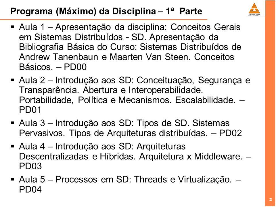 2 2 Programa (Máximo) da Disciplina – 1ª Parte Aula 1 – Apresentação da disciplina: Conceitos Gerais em Sistemas Distribuídos - SD.