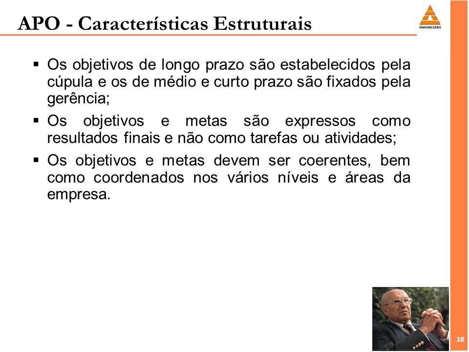 18 APO - Características Estruturais Os objetivos de longo prazo são estabelecidos pela cúpula e os de médio e curto prazo são fixados pela gerência;