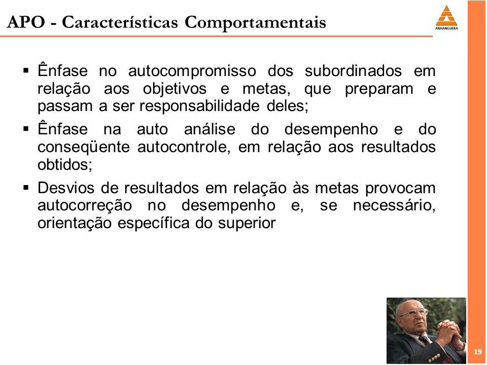 19 APO - Características Comportamentais Ênfase no autocompromisso dos subordinados em relação aos objetivos e metas, que preparam e passam a ser resp