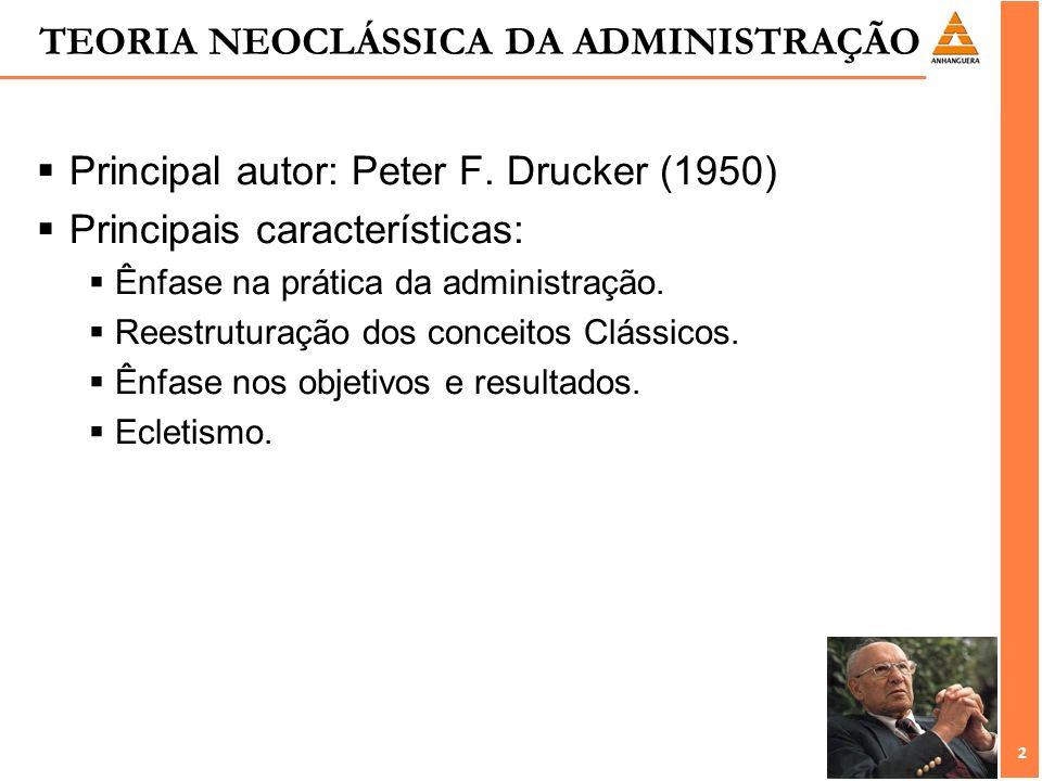 2 2 TEORIA NEOCLÁSSICA DA ADMINISTRAÇÃO Principal autor: Peter F. Drucker (1950) Principais características: Ênfase na prática da administração. Reest