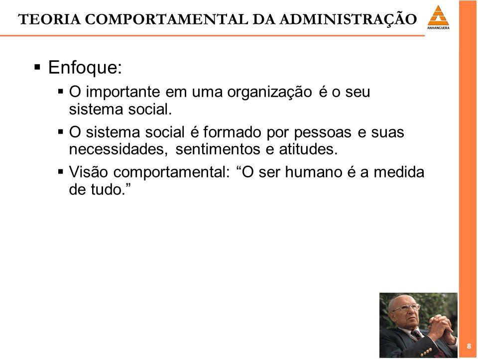 8 8 TEORIA COMPORTAMENTAL DA ADMINISTRAÇÃO Enfoque: O importante em uma organização é o seu sistema social. O sistema social é formado por pessoas e s