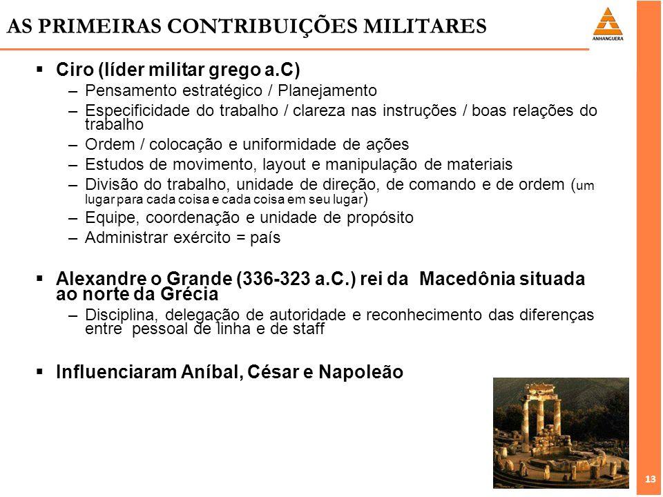 13 AS PRIMEIRAS CONTRIBUIÇÕES MILITARES Ciro (líder militar grego a.C) –Pensamento estratégico / Planejamento –Especificidade do trabalho / clareza na