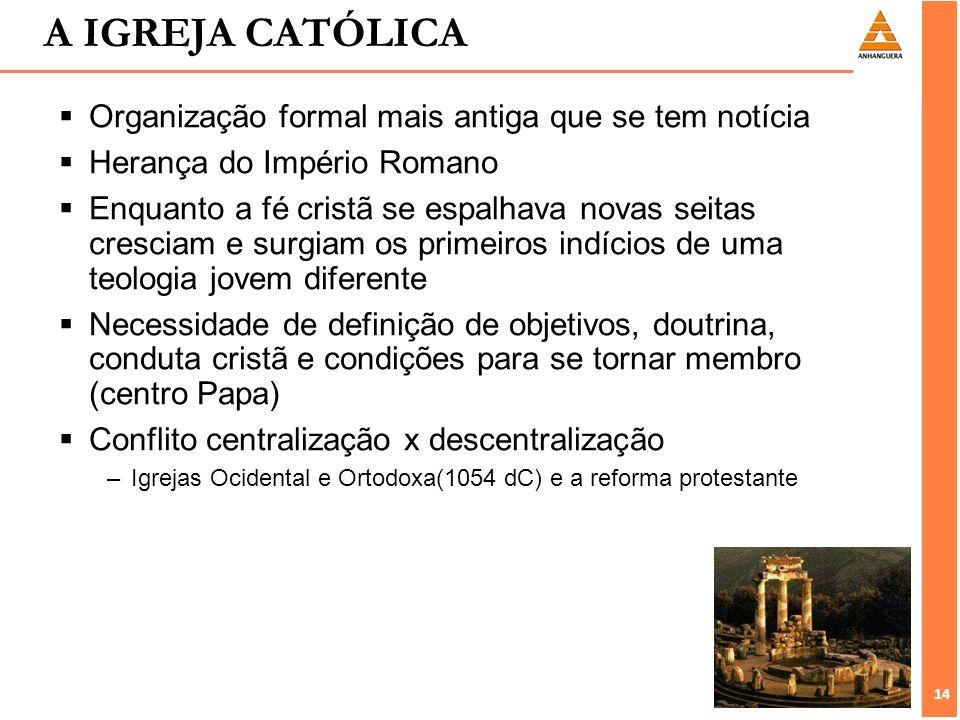 14 A IGREJA CATÓLICA Organização formal mais antiga que se tem notícia Herança do Império Romano Enquanto a fé cristã se espalhava novas seitas cresci