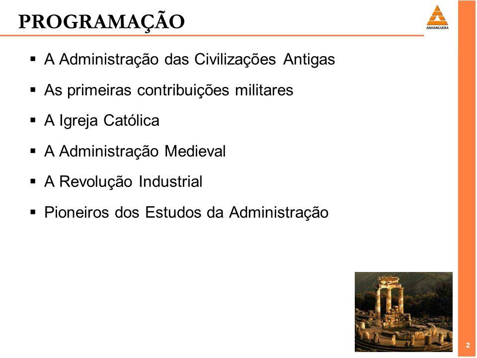 2 2 PROGRAMAÇÃO A Administração das Civilizações Antigas As primeiras contribuições militares A Igreja Católica A Administração Medieval A Revolução I
