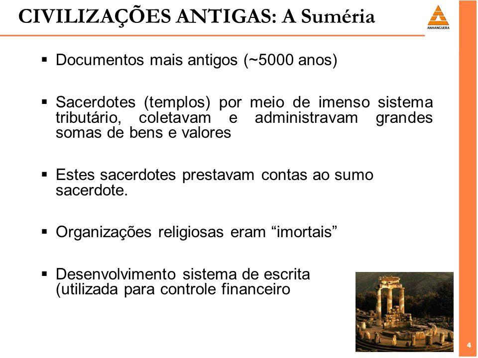 4 4 CIVILIZAÇÕES ANTIGAS: A Suméria Documentos mais antigos (~5000 anos) Sacerdotes (templos) por meio de imenso sistema tributário, coletavam e admin