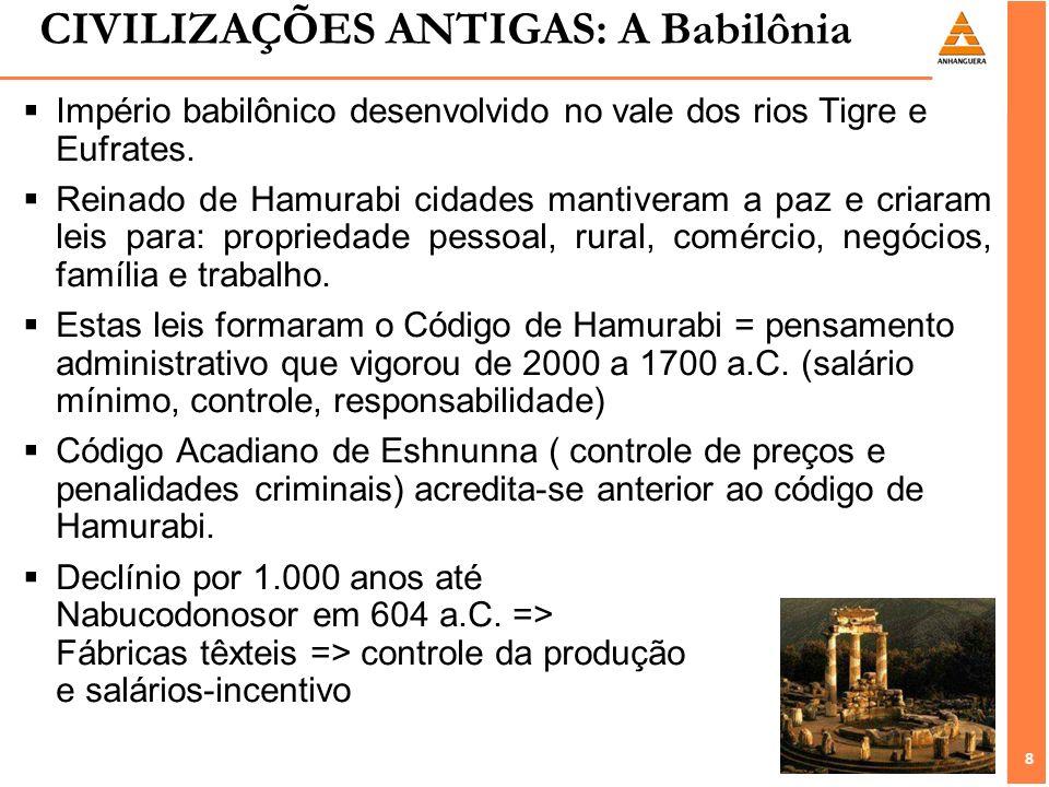 8 8 CIVILIZAÇÕES ANTIGAS: A Babilônia Império babilônico desenvolvido no vale dos rios Tigre e Eufrates. Reinado de Hamurabi cidades mantiveram a paz