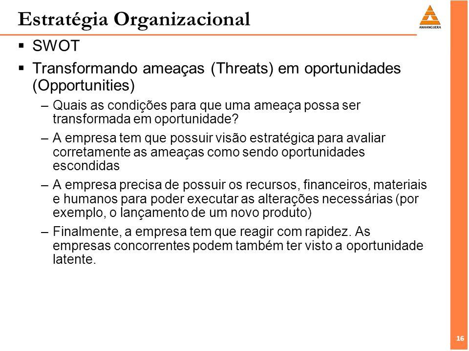 16 Estratégia Organizacional SWOT Transformando ameaças (Threats) em oportunidades (Opportunities) –Quais as condições para que uma ameaça possa ser transformada em oportunidade.
