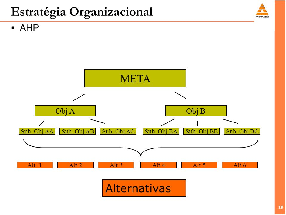18 Estratégia Organizacional AHP META Sub.Obj AA Obj A Sub.
