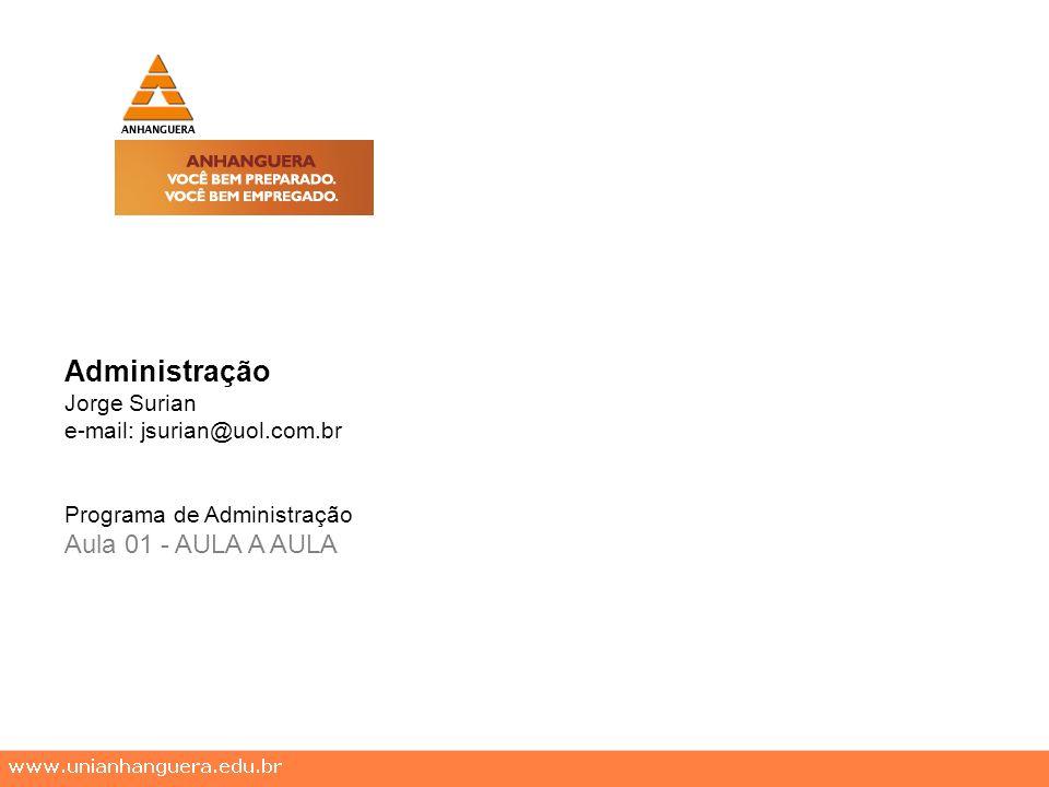 Administração Jorge Surian e-mail: jsurian@uol.com.br Programa de Administração Aula 01 - AULA A AULA
