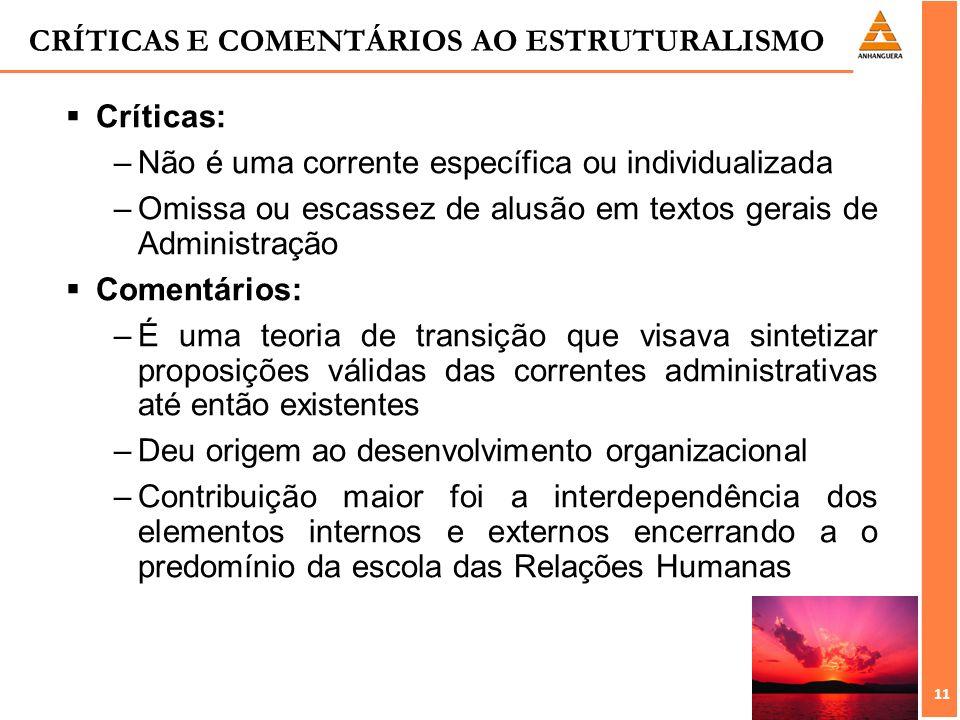 11 CRÍTICAS E COMENTÁRIOS AO ESTRUTURALISMO Críticas: –Não é uma corrente específica ou individualizada –Omissa ou escassez de alusão em textos gerais