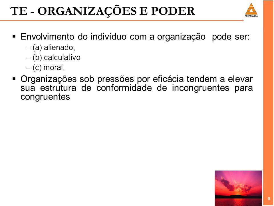 5 5 Envolvimento do indivíduo com a organização pode ser: –(a) alienado; –(b) calculativo –(c) moral. Organizações sob pressões por eficácia tendem a