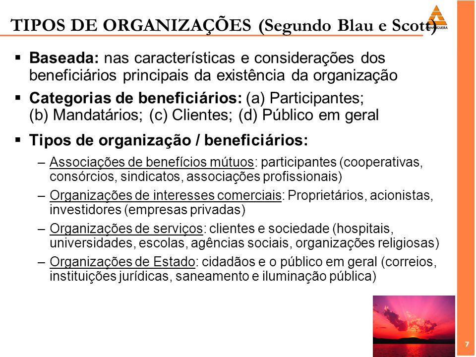 7 7 TIPOS DE ORGANIZAÇÕES (Segundo Blau e Scott) Baseada: nas características e considerações dos beneficiários principais da existência da organizaçã