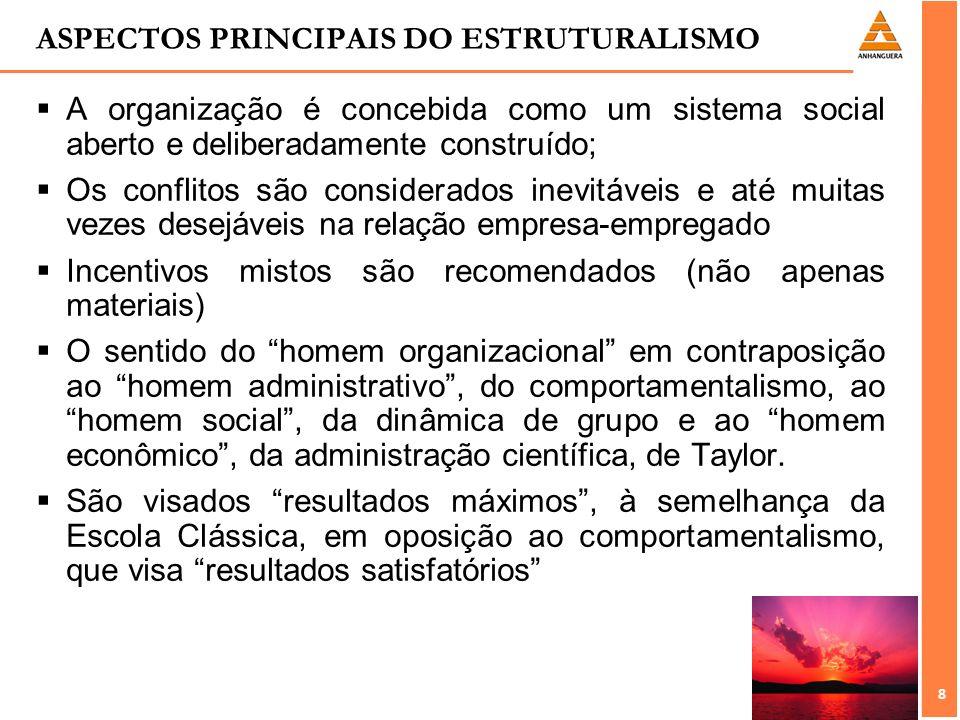 8 8 ASPECTOS PRINCIPAIS DO ESTRUTURALISMO A organização é concebida como um sistema social aberto e deliberadamente construído; Os conflitos são consi