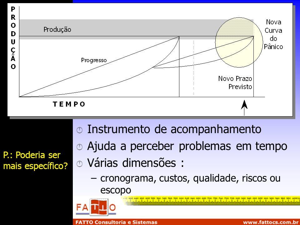 Instrumento de acompanhamento Ajuda a perceber problemas em tempo Várias dimensões : –cronograma, custos, qualidade, riscos ou escopo P.: Poderia ser