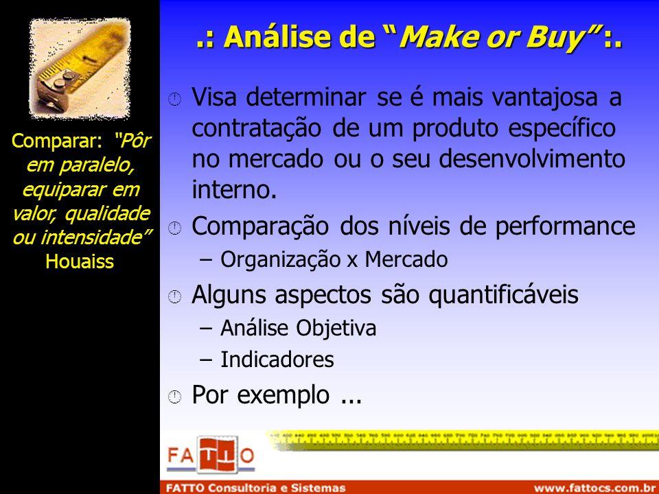 .: Análise de Make or Buy :. Visa determinar se é mais vantajosa a contratação de um produto específico no mercado ou o seu desenvolvimento interno. C