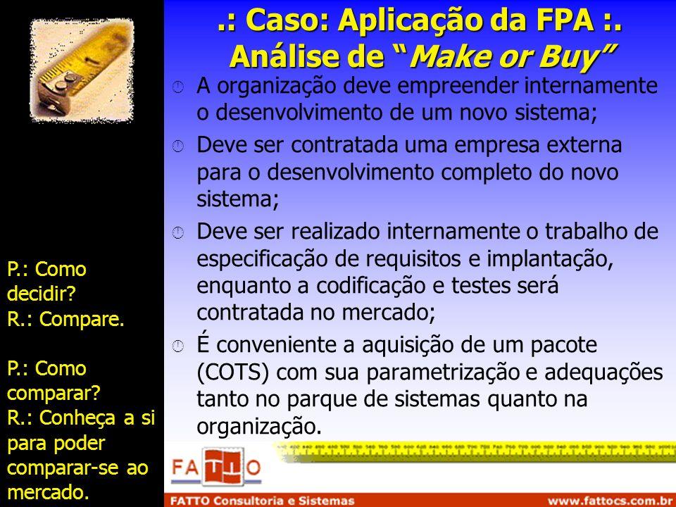 .: Caso: Aplicação da FPA :. Análise de Make or Buy A organização deve empreender internamente o desenvolvimento de um novo sistema; Deve ser contrata