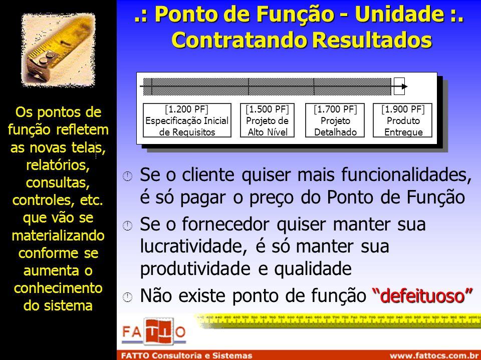 .: Ponto de Função - Unidade :. Contratando Resultados Se o cliente quiser mais funcionalidades, é só pagar o preço do Ponto de Função Se o fornecedor