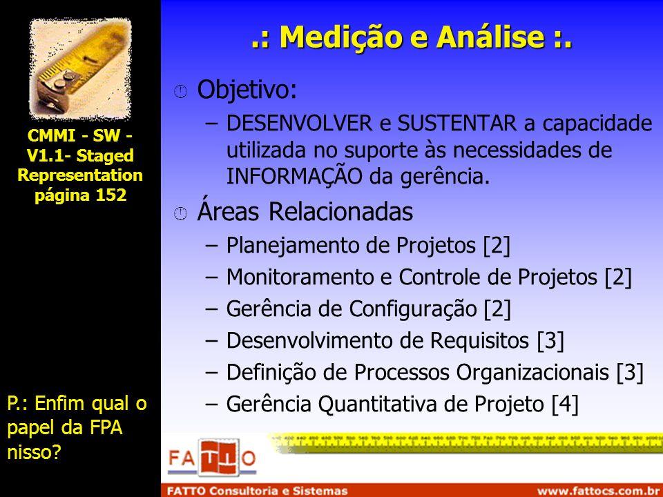 .: Medição e Análise :. Objetivo: –DESENVOLVER e SUSTENTAR a capacidade utilizada no suporte às necessidades de INFORMAÇÃO da gerência. Áreas Relacion