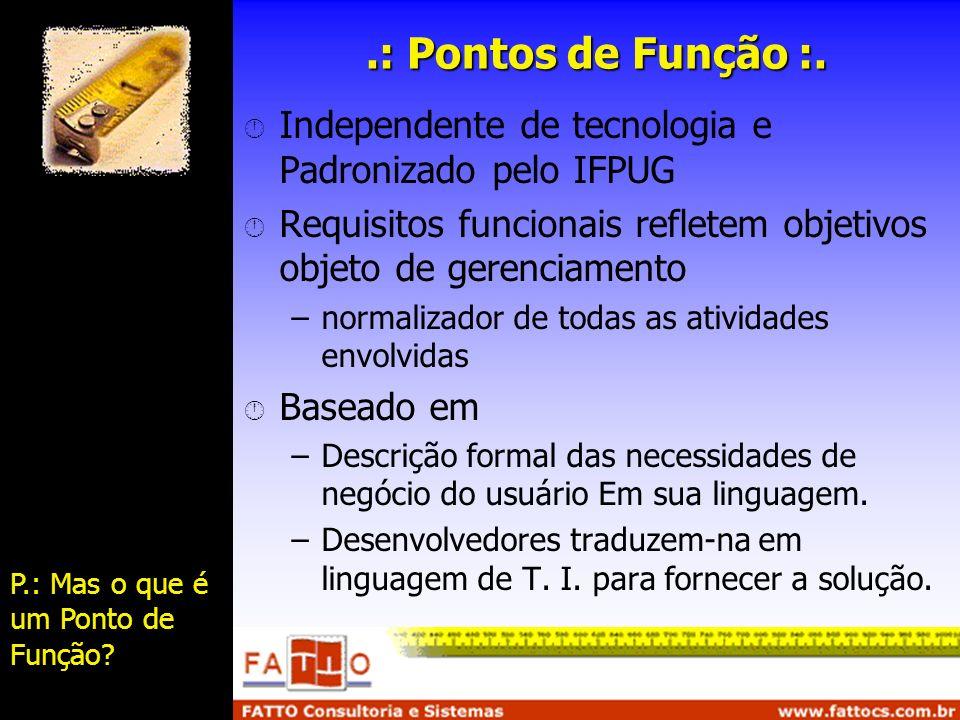 .: Pontos de Função :. Independente de tecnologia e Padronizado pelo IFPUG Requisitos funcionais refletem objetivos objeto de gerenciamento –normaliza