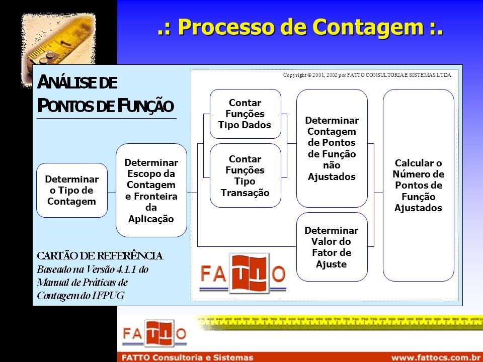 .: Processo de Contagem :. Determinar o Tipo de Contagem Determinar Escopo da Contagem e Fronteira da Aplicação Contar Funções Tipo Dados Contar Funçõ