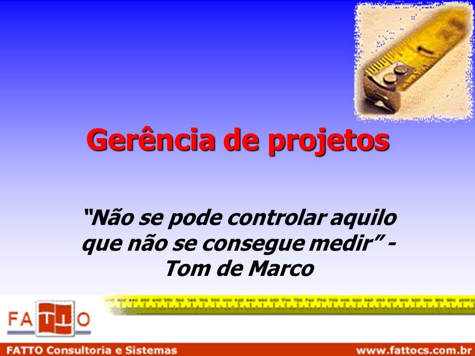 Gerência de projetos Não se pode controlar aquilo que não se consegue medir - Tom de Marco