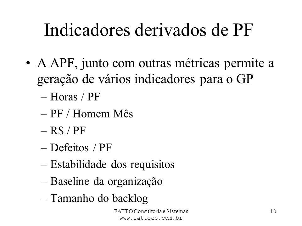 FATTO Consultoria e Sistemas www.fattocs.com.br 10 Indicadores derivados de PF A APF, junto com outras métricas permite a geração de vários indicadore