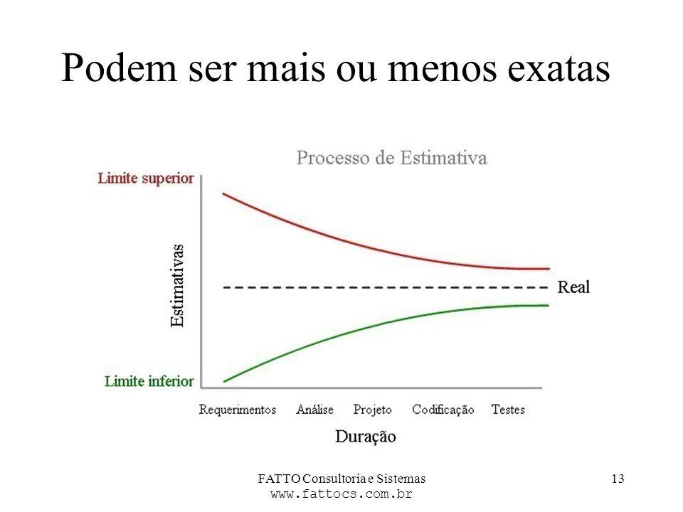 FATTO Consultoria e Sistemas www.fattocs.com.br 13 Podem ser mais ou menos exatas