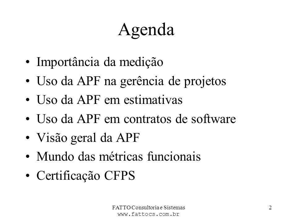 FATTO Consultoria e Sistemas www.fattocs.com.br 2 Agenda Importância da medição Uso da APF na gerência de projetos Uso da APF em estimativas Uso da AP
