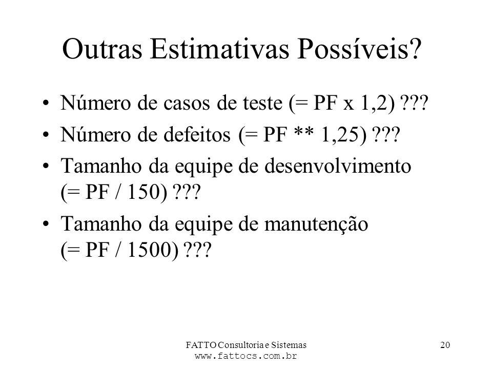 FATTO Consultoria e Sistemas www.fattocs.com.br 20 Outras Estimativas Possíveis? Número de casos de teste (= PF x 1,2) ??? Número de defeitos (= PF **