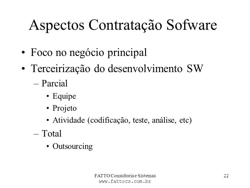 FATTO Consultoria e Sistemas www.fattocs.com.br 22 Aspectos Contratação Sofware Foco no negócio principal Terceirização do desenvolvimento SW –Parcial