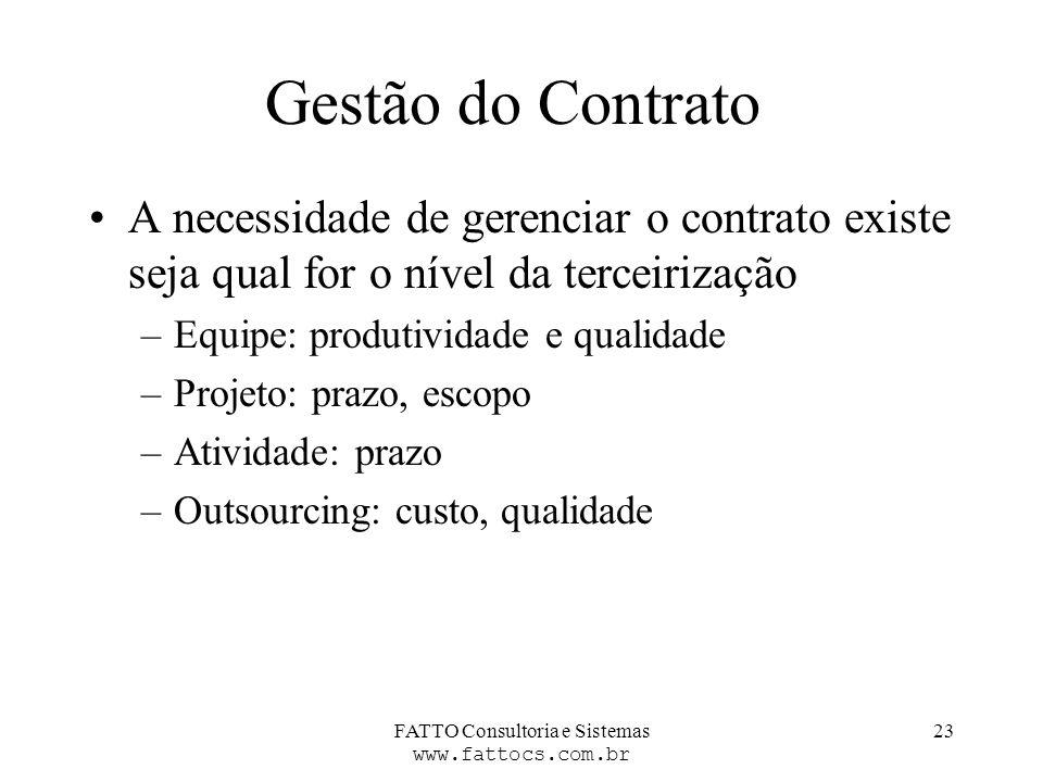 FATTO Consultoria e Sistemas www.fattocs.com.br 23 Gestão do Contrato A necessidade de gerenciar o contrato existe seja qual for o nível da terceiriza