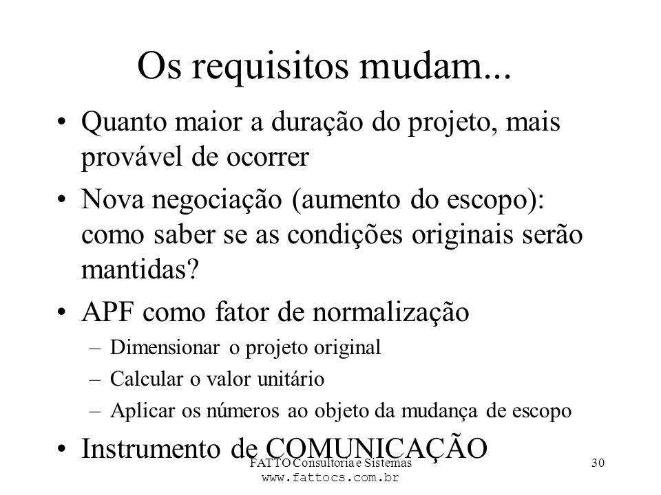 FATTO Consultoria e Sistemas www.fattocs.com.br 30 Os requisitos mudam... Quanto maior a duração do projeto, mais provável de ocorrer Nova negociação