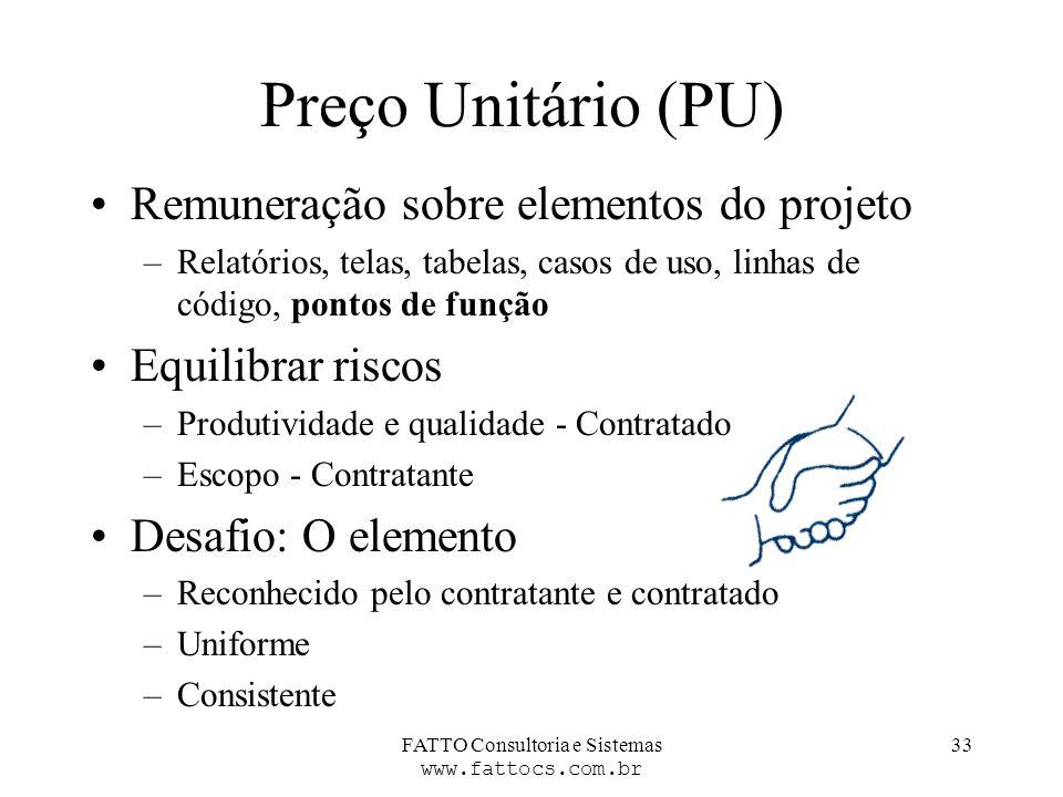 FATTO Consultoria e Sistemas www.fattocs.com.br 33 Preço Unitário (PU) Remuneração sobre elementos do projeto –Relatórios, telas, tabelas, casos de us