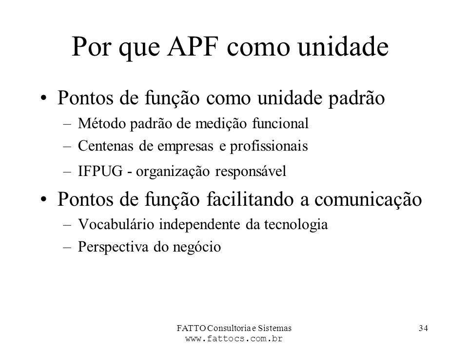 FATTO Consultoria e Sistemas www.fattocs.com.br 34 Por que APF como unidade Pontos de função como unidade padrão –Método padrão de medição funcional –