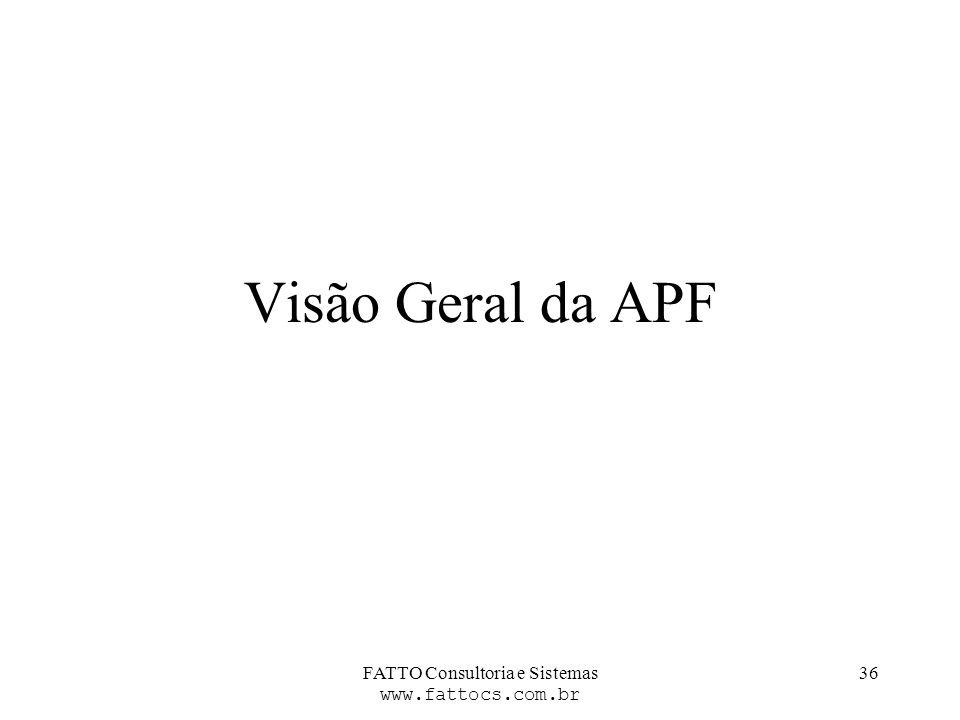 FATTO Consultoria e Sistemas www.fattocs.com.br 36 Visão Geral da APF
