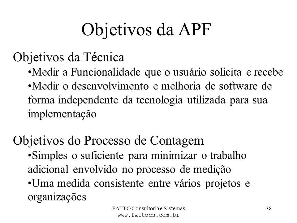 FATTO Consultoria e Sistemas www.fattocs.com.br 38 Objetivos da APF Objetivos da Técnica Medir a Funcionalidade que o usuário solicita e recebe Medir