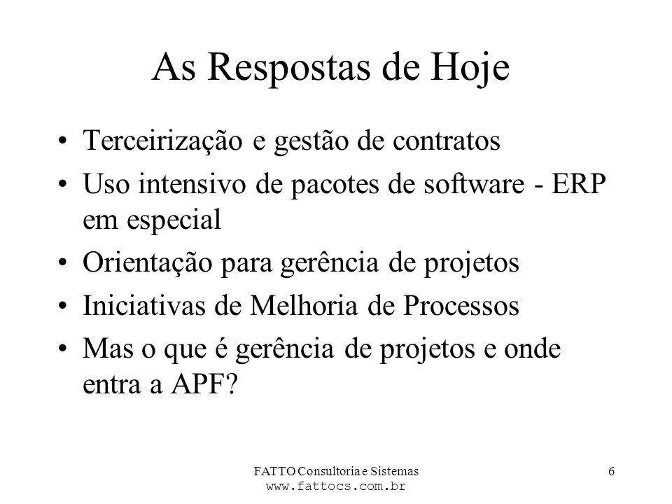 FATTO Consultoria e Sistemas www.fattocs.com.br 6 As Respostas de Hoje Terceirização e gestão de contratos Uso intensivo de pacotes de software - ERP