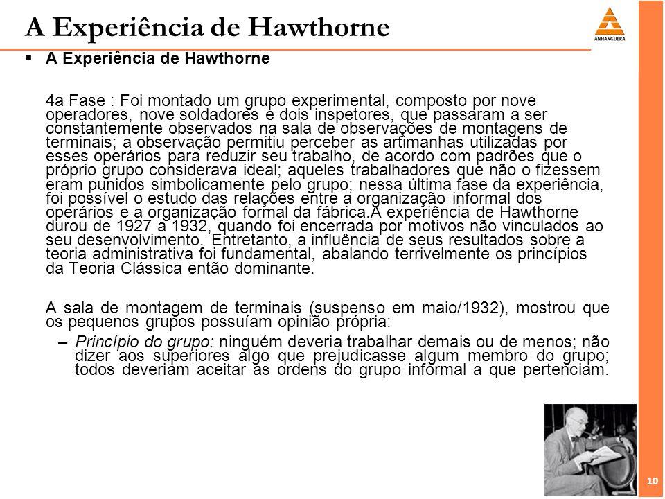 10 A Experiência de Hawthorne A Experiência de Hawthorne 4a Fase : Foi montado um grupo experimental, composto por nove operadores, nove soldadores e